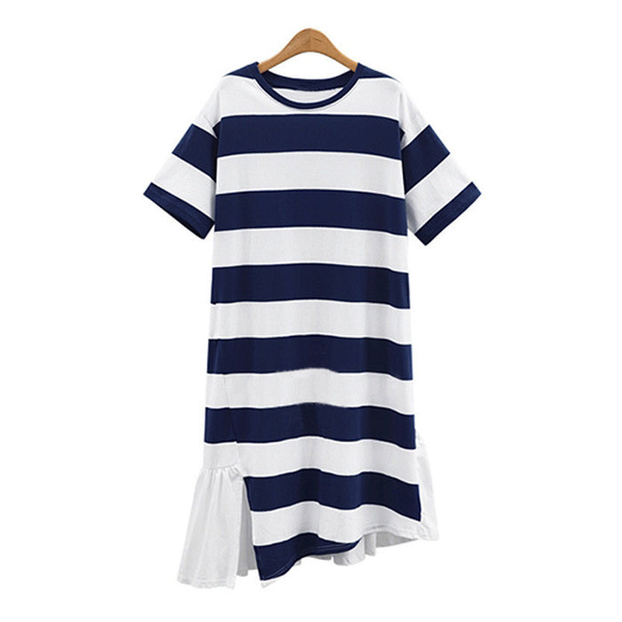 Street Fashion Icon Stripe T-Shirt Dress - sofyee