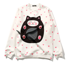 Cat Aesthetic Sweet Heart Blooming Kawaii Sweatshirt