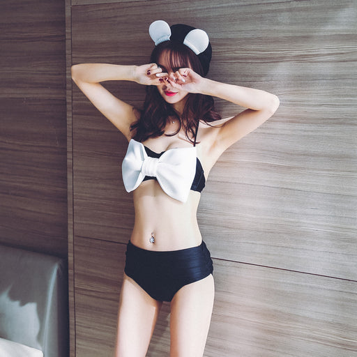 Kiss Me Kawaii Cute Sweet Halter Bow Tie Swimsuit Set