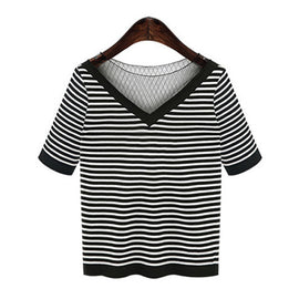 All I Want Is Stripe Mesh Neck T-Shirt - sofyee