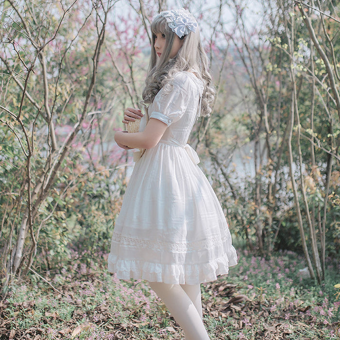 Lost In The Pink White Snow Prince Kawaii Lolita Mori Dress
