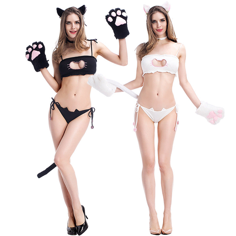Kawaii Cosplay Sexy Neko Cat Heart Attack Hallow Tube Top Lingerie Set