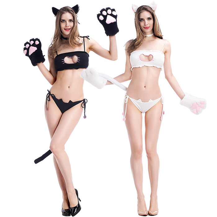 Kawaii Cosplay Sexy Neko Cat Heart Attack Hallow Out Keyhole Kitty Tube Top Lingerie Set