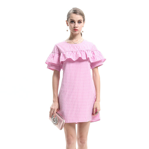Pink Peachy Ruffle Stripe Midi Dress - sofyee