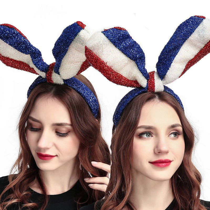Kawaii blue, white and red long bunny ears shiny silk headband hair accessory