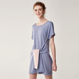 What About Date Self Tie Fine-Knit T-Shirt Dress - sofyee