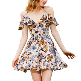 Breezing In The Air Ruffle Floral Flared Dress - sofyee