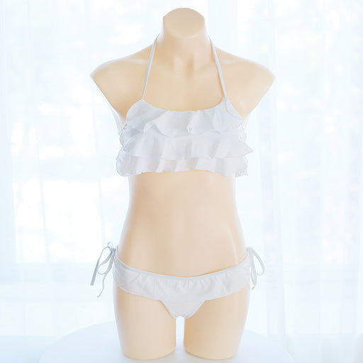 J Fashion Anime Ruffle White Kawaii Cosplay Costume Bikini Set