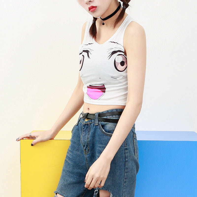 Funny Emoji Lovely Anime Cropped Top