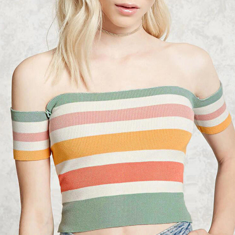 Colored Rainbow Cropped Knit Off Shoulder Top