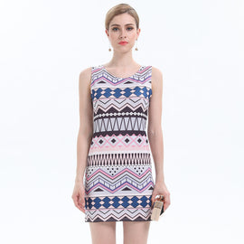 All About Printed Time Abstract Geometrical Mini Dress - sofyee