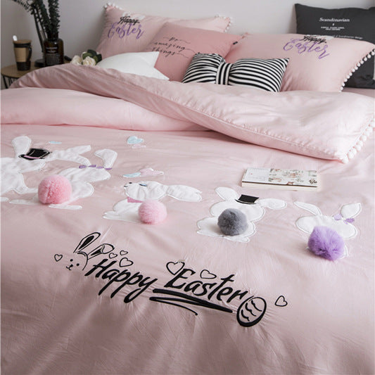 Bunny Rabbit Pastel Princess Bedding Sheet Pillow Case Set