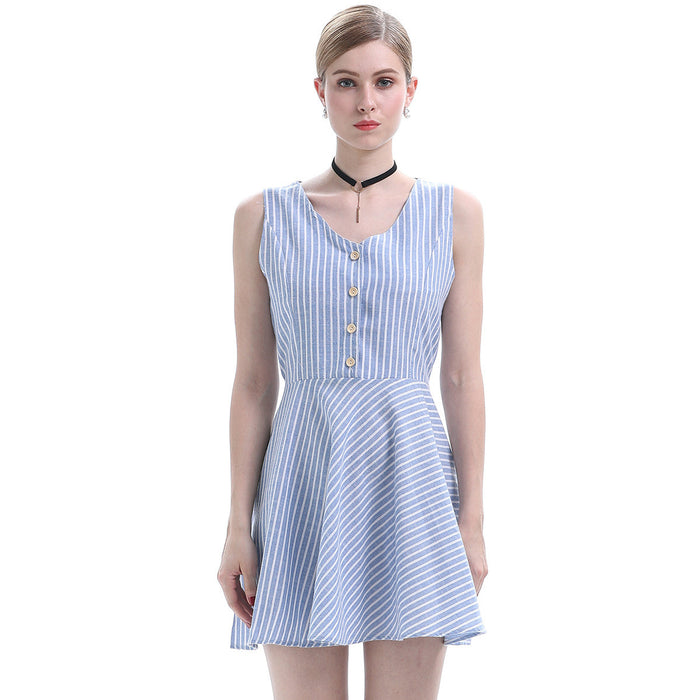 Stripe Storm Button Up Mini Dress - sofyee