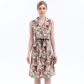 Bury In The Flower Lapel Neck Belted Dress - sofyee