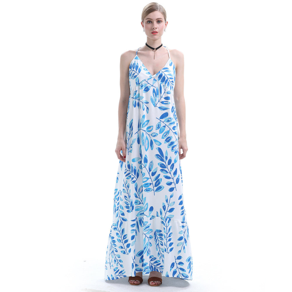 Take A Road Trip To Dreaming Place Leaf Printed Maxi Dress - sofyee