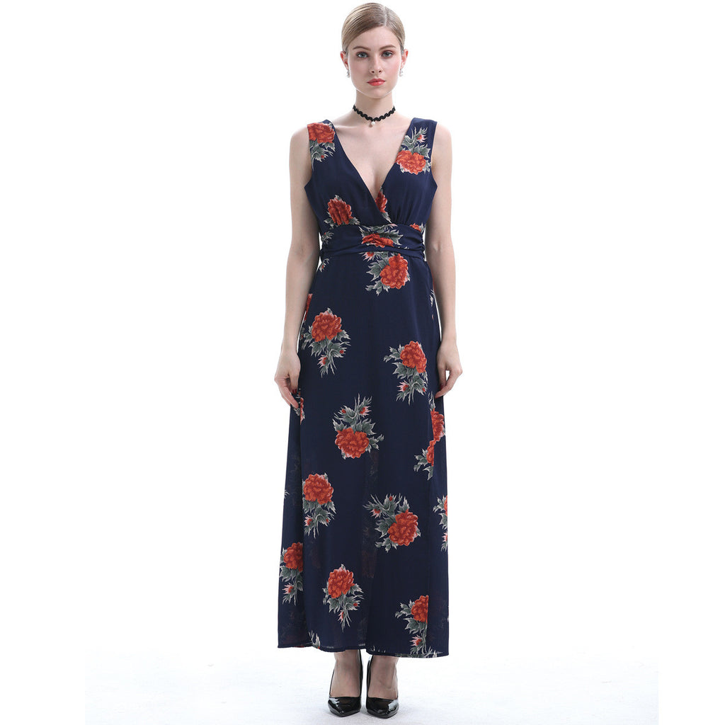Hello Elegance Layd Rose Floral Printed Plunge Maxi Dress - sofyee