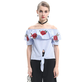Always Blooming Off The Shoulder Embroidered Blouse - sofyee