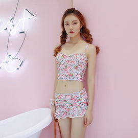 Dot Flower Sunny Holiday Cute Sweet High Waisted Printed Swimsuit Set