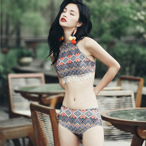 Vintage Tassel Travel Cute Sweet High Waisted Printed Ruffle Swimsuit Set