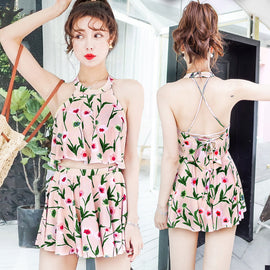Kiss Me  Floral Cute Sweet Halter Neck High Waisted Swimsuit Set