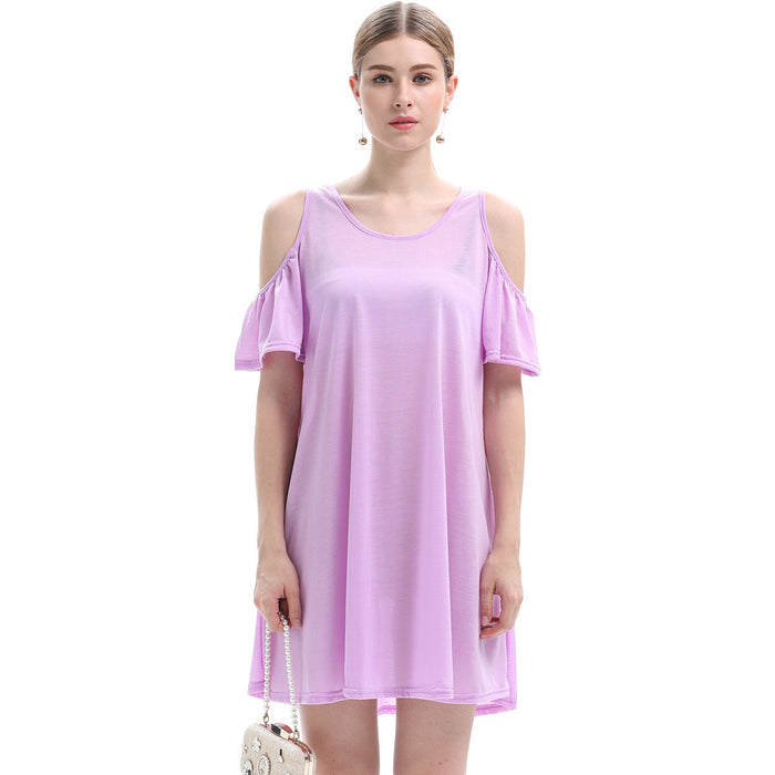 Wear Violet Ruffle T-Shirt Dress - sofyee