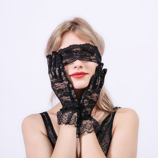 Sexy Lace Eye mask With Gloves Three-Piece Suit
