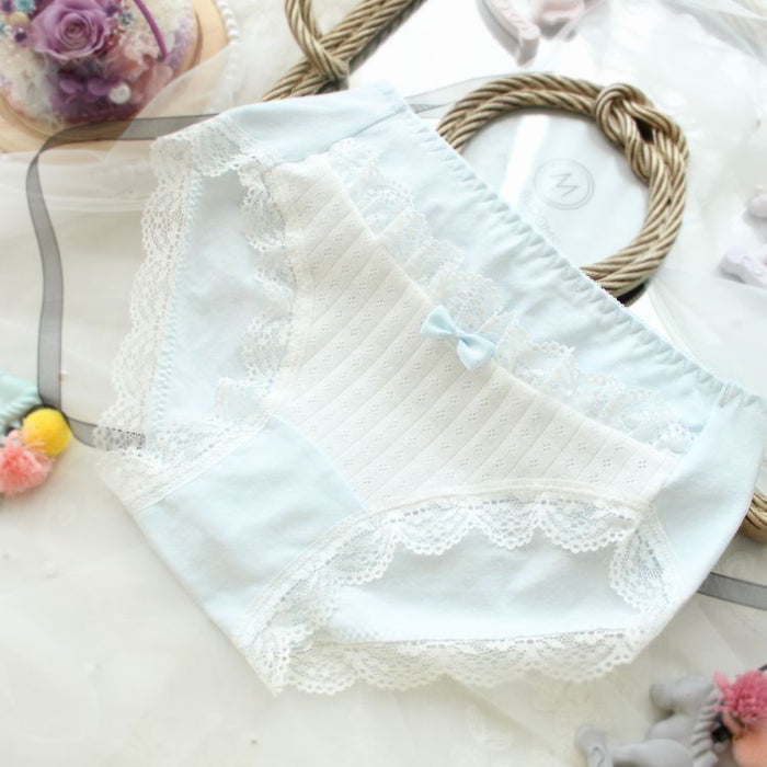 Candy Color Bow Slim Stripped Cute Lace Sweetie Panty
