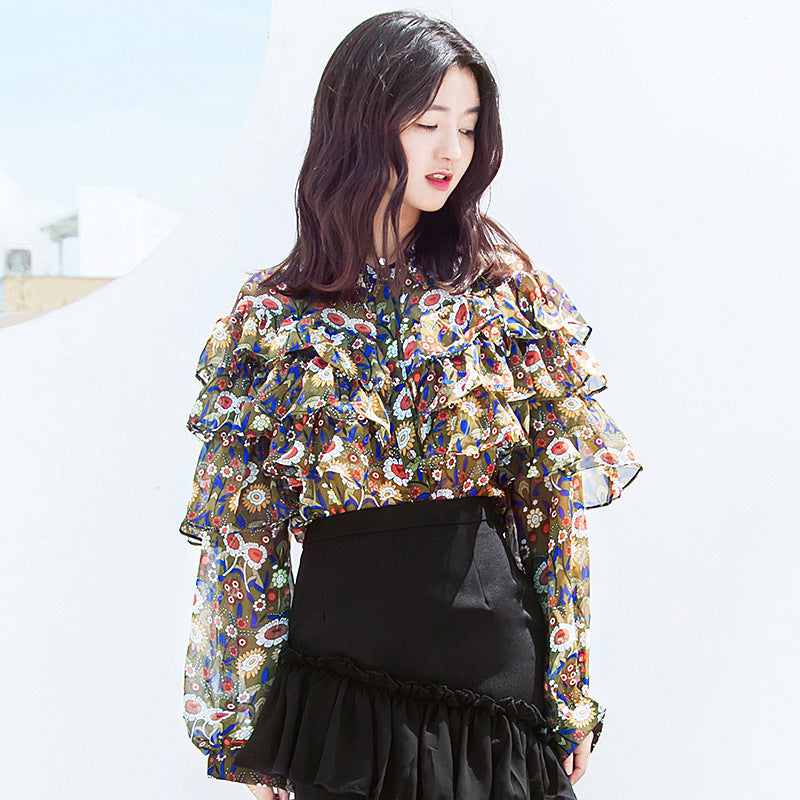 Blossom In The Fall Ruffle Blouse