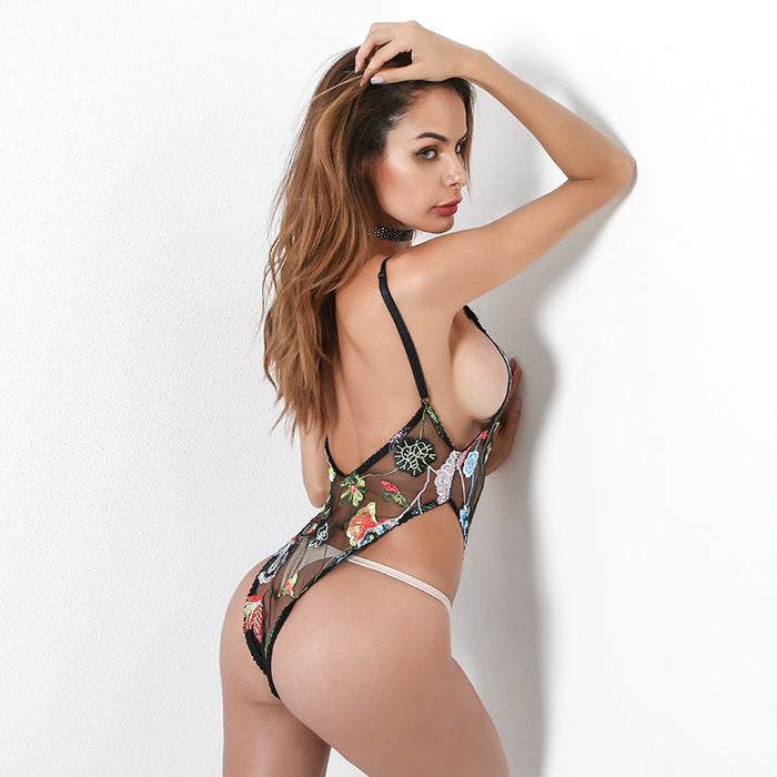 Perspective mesh embroidered bodysuit sexy lingerie