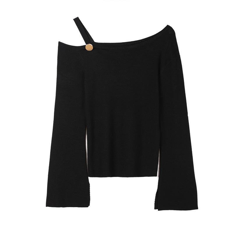 One Shoulder Button Lantern Sleeves Jumper