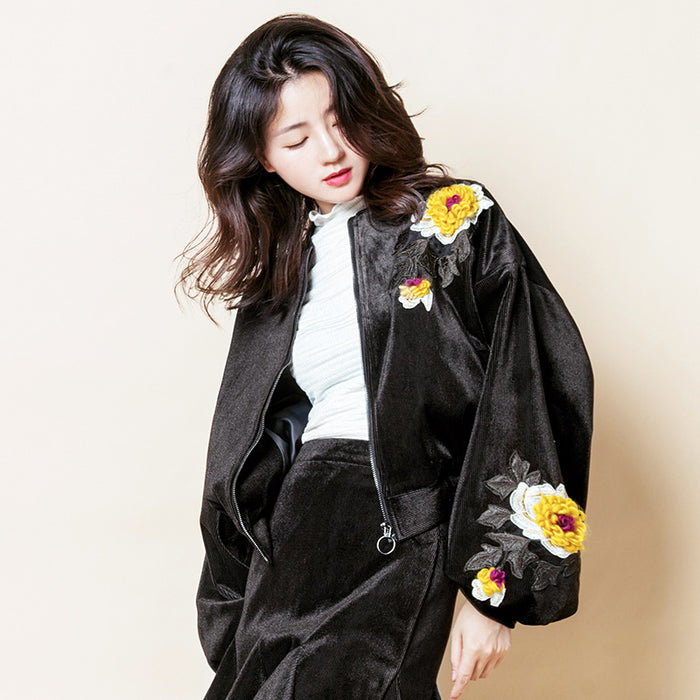 Velvet Embroidered Lantern Sleeves Jacket