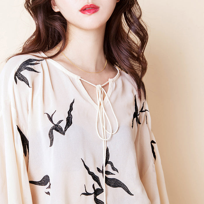 Lantern Sleeves Swan Printed Self-Tie Chiffon Top 43002