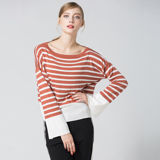 Color Block Striped Spilt Top