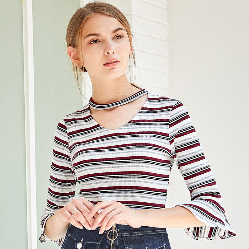 Choker Bell Sleeves Striped Top 43003