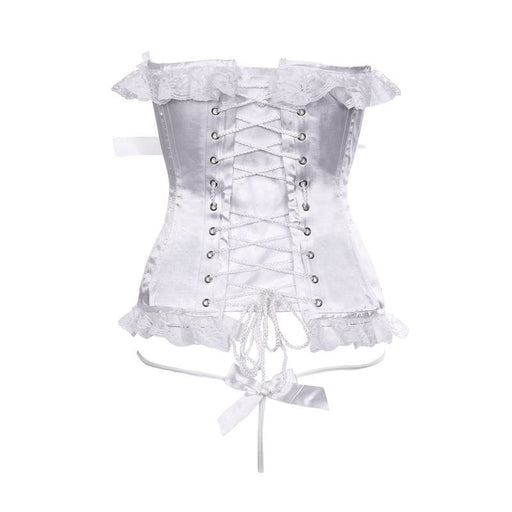 Sultry White Lace Corset-Like Lingerie Set