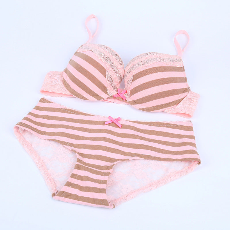 Sexy Striped Underwire Push-Up Bra & Panty Set