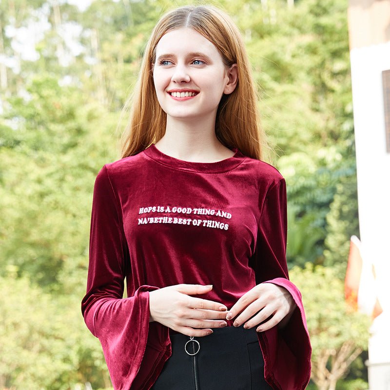 Lost In The Red Wine Letter Printed Bell Sleeves Velvet Sweatshirt