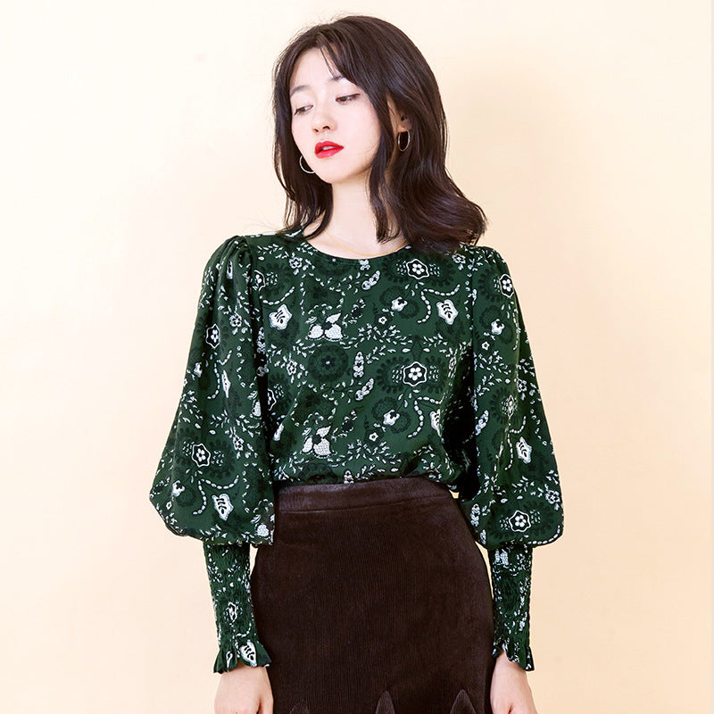 Lantern Sleeves Flower Printed Chiffon Top