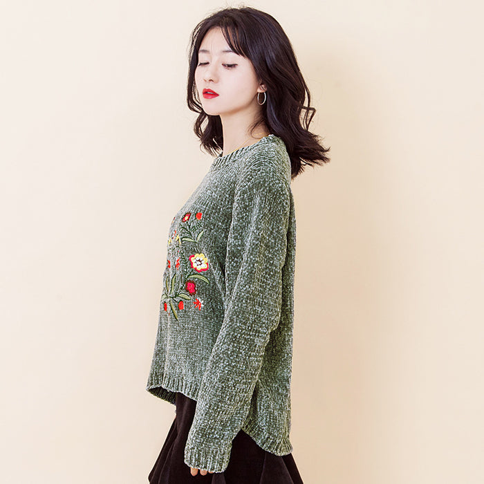 Flower Embroidered High Low Jumper