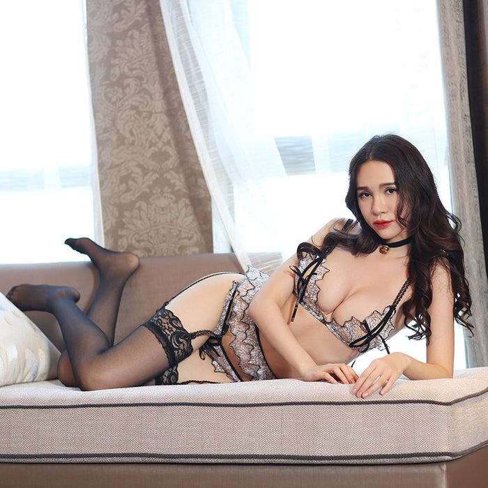 Sexy Lace See Through Black Lingerie Set