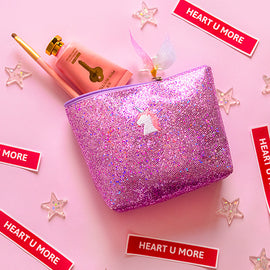 Kawaii Pink Pastel Bling Sparking Make Up Bag
