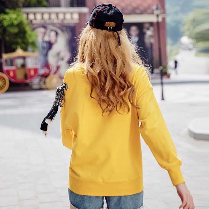 Warm Color Side-Tie O-Ring Sweatshirt