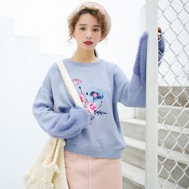 Floral Pastel Kawaii Aesthetic Pink Rainbow Sweater