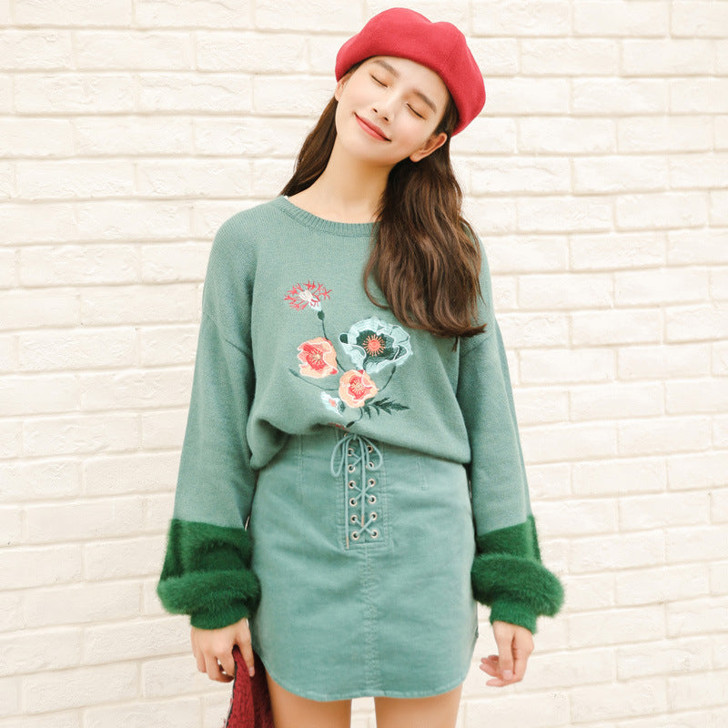 Floral Pastel Kawaii Aesthetic Pink Rainbow Sweater SY001