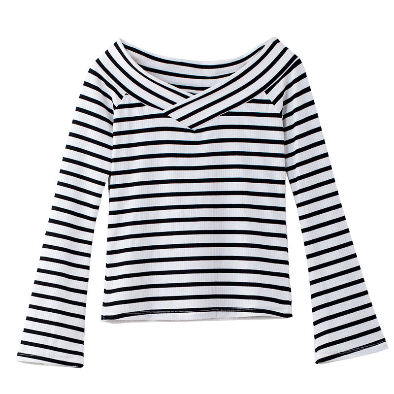 Bell Sleeves Striped Fine-Knit Top