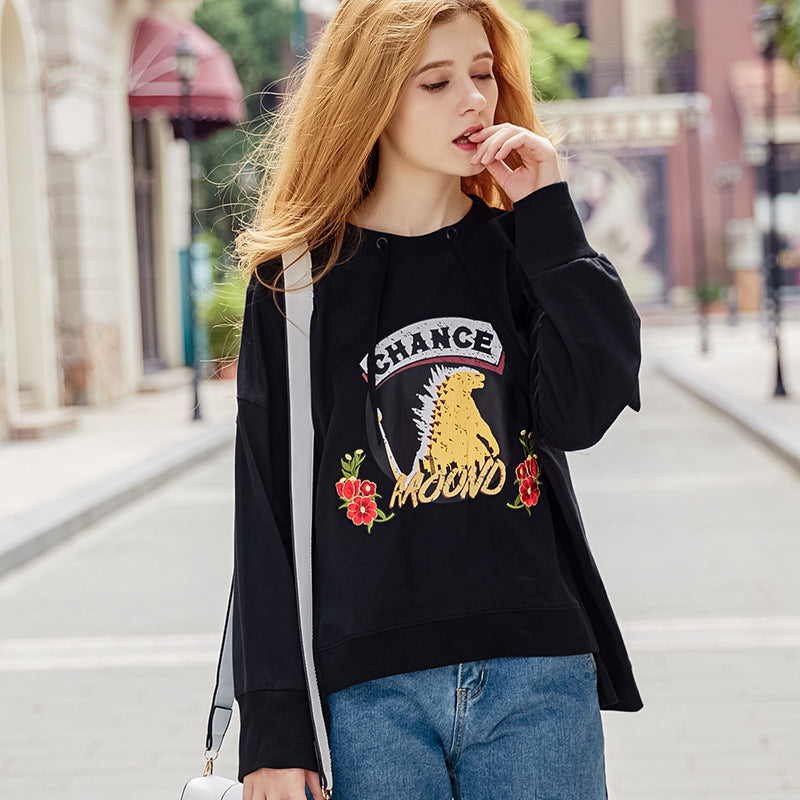 Going Out For A Ride Letter Printed Embroidered Sweatshirt