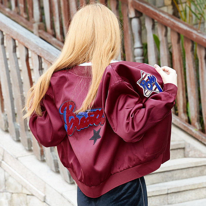 Lost In The Red Wine Star Embroided Baseball Jacket