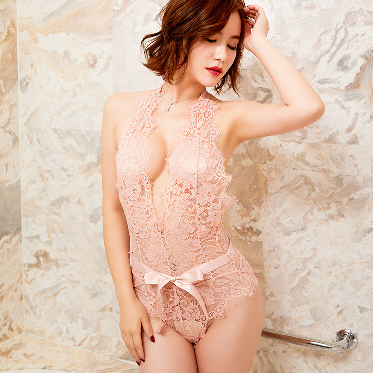 Sultry Plunge See Through Lace All Over Bodysuit
