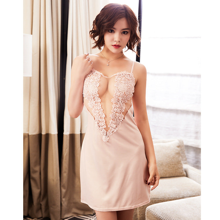 Hearty Flowery Silky Semi See Through Lingerie Dress