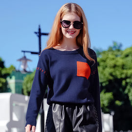 Color Block Pocket Sweater